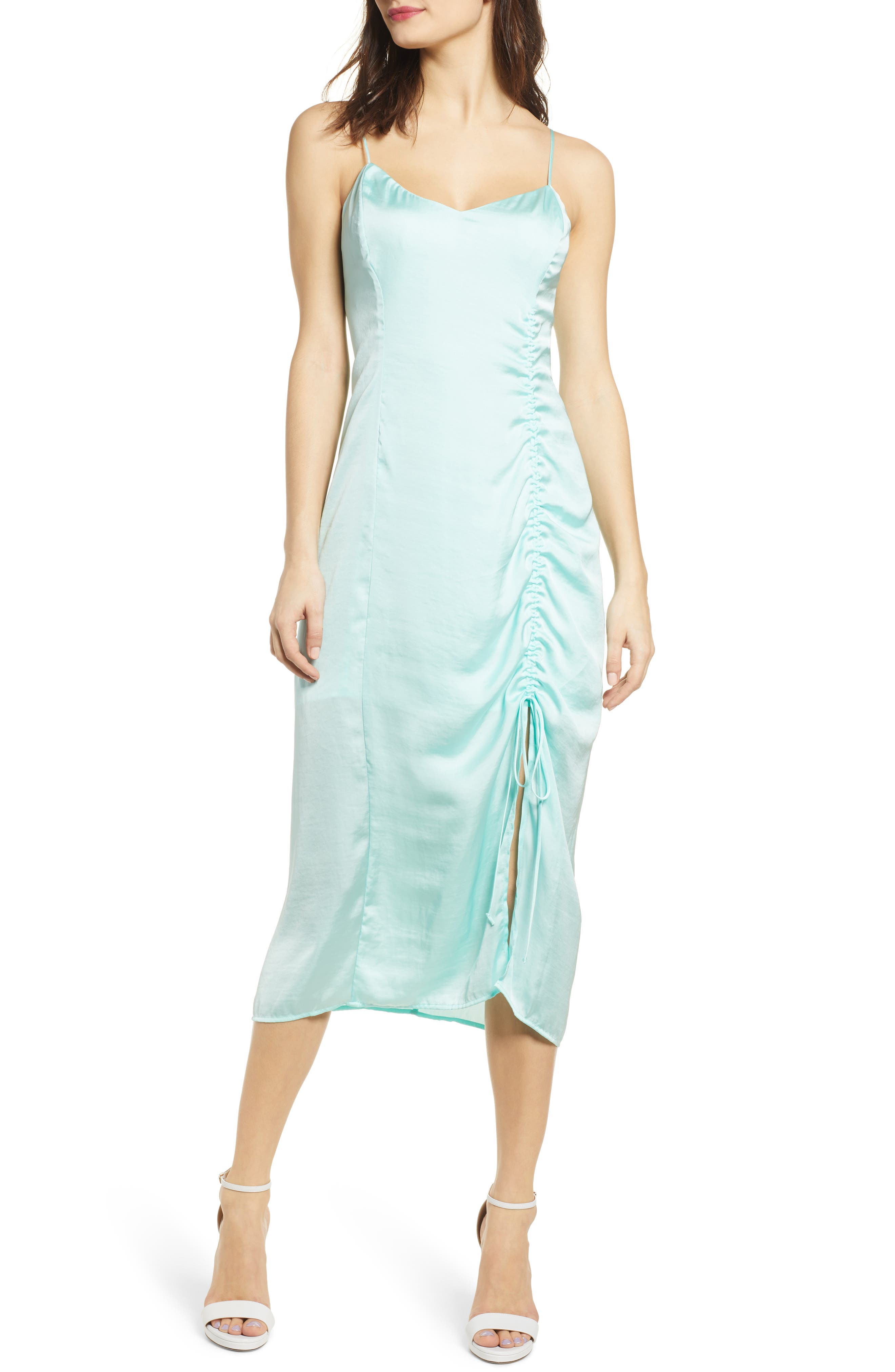 Leith Ruched Detail Satin Slipdress, Blue/green