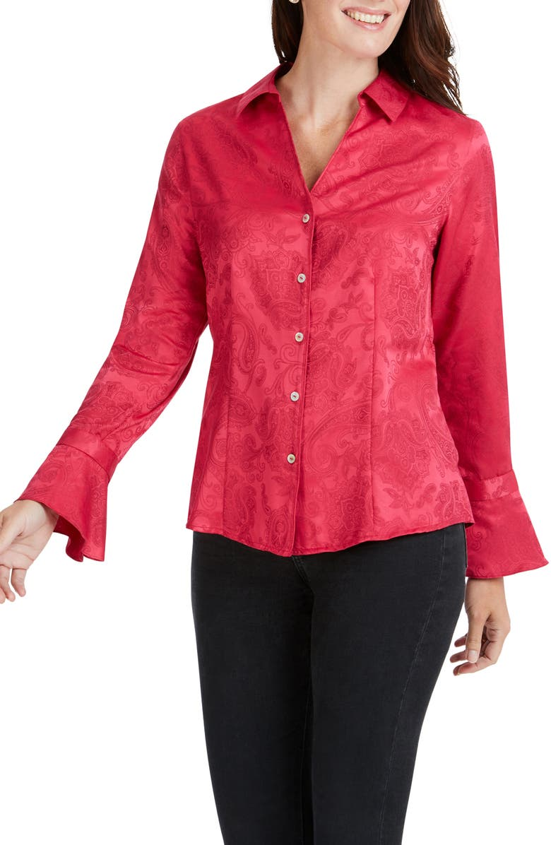 FOXCROFT Ellery Paisley Jacquard Shirt, Main, color, PALACE PINK