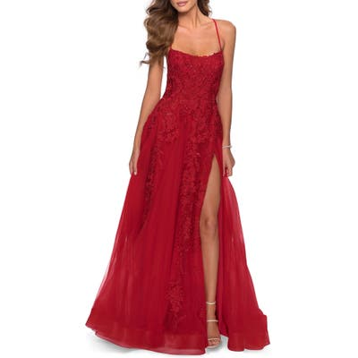La Femme Glitter Embroidered Tulle Ballgown, Red