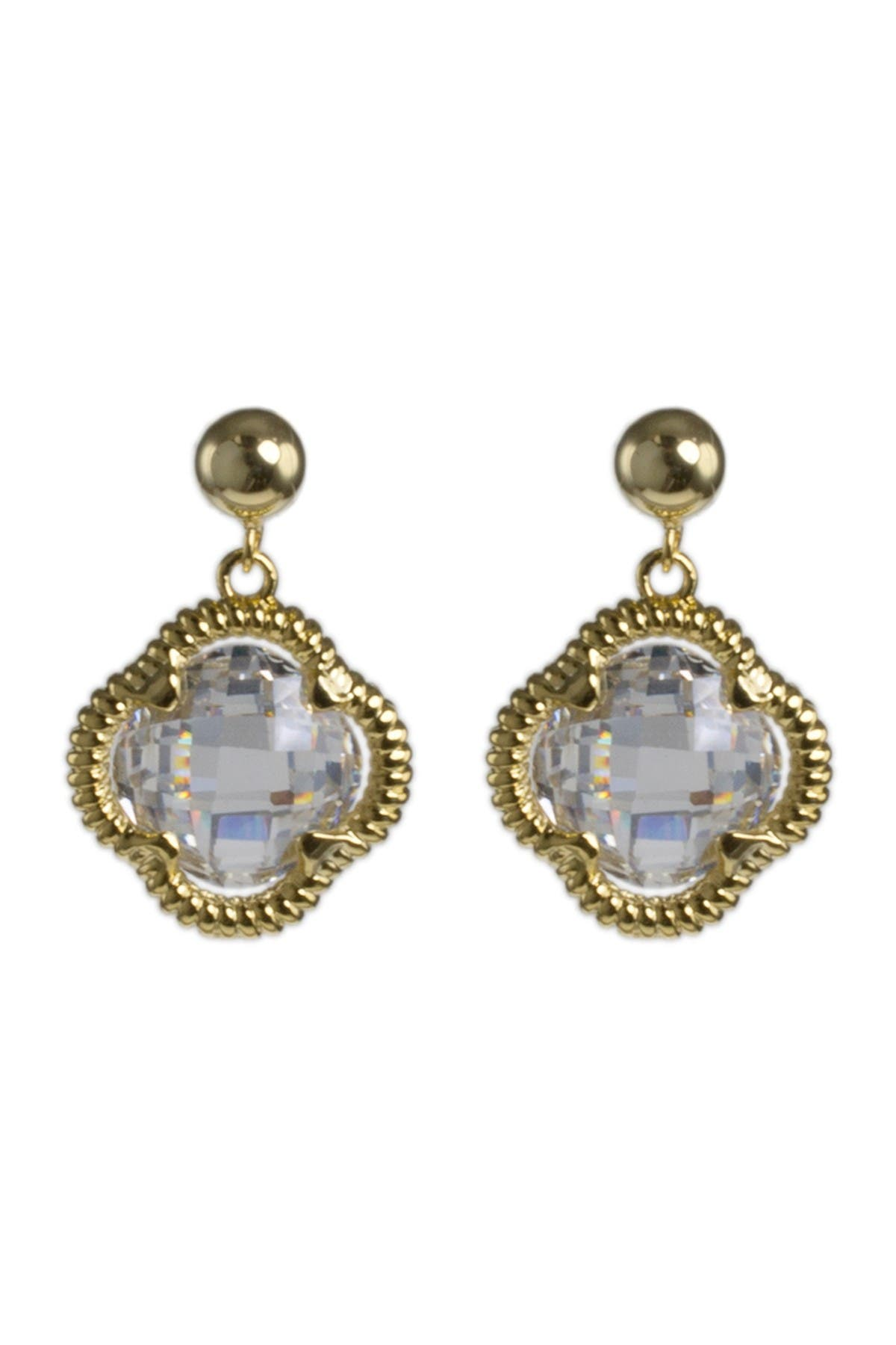 Image of CZ By Kenneth Jay Lane Clover CZ Twisted Halo Earrings
