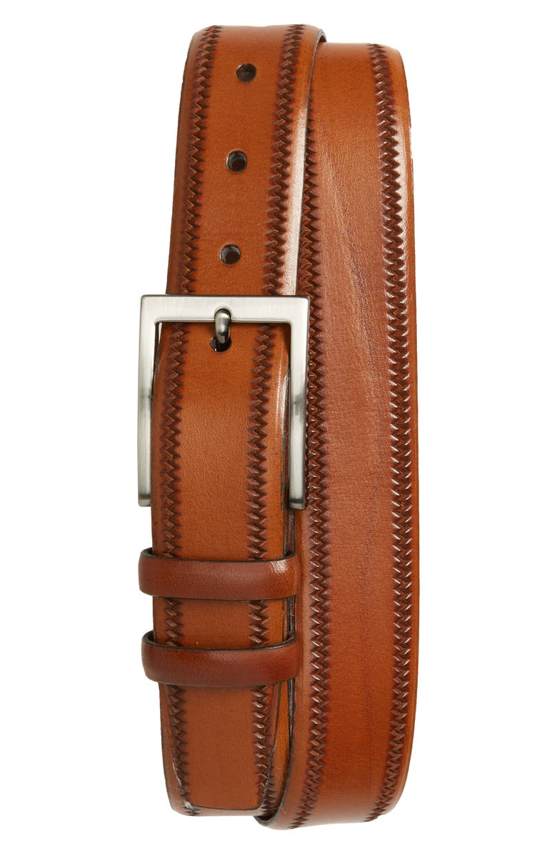 TORINO Embossed Leather Belt, Main, color, WALNUT