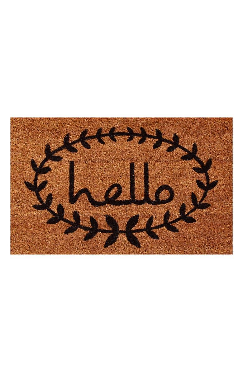 CALLOWAYMILLS Calico Hello Doormat, Main, color, NATURAL/ BLACK