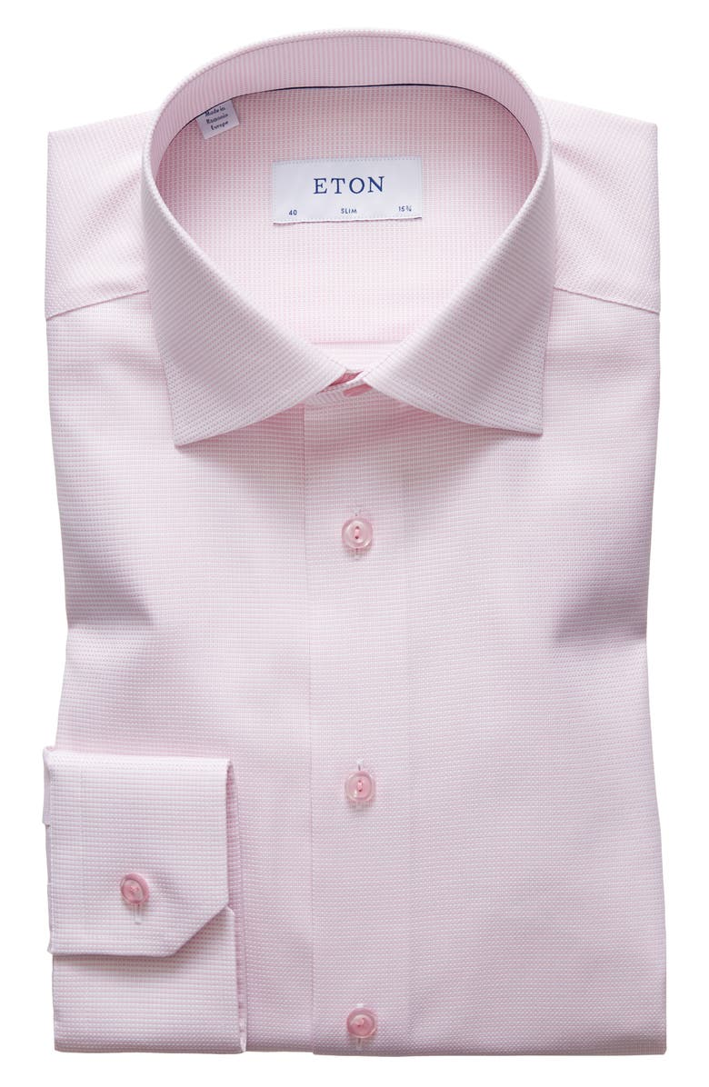 ETON Slim Fit Solid Dress Shirt, Main, color, PINK