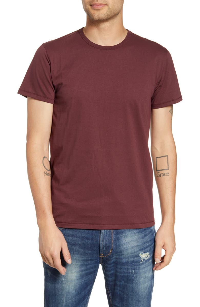 RAG & BONE Classic Base Slim Fit T-Shirt, Main, color, MAROON