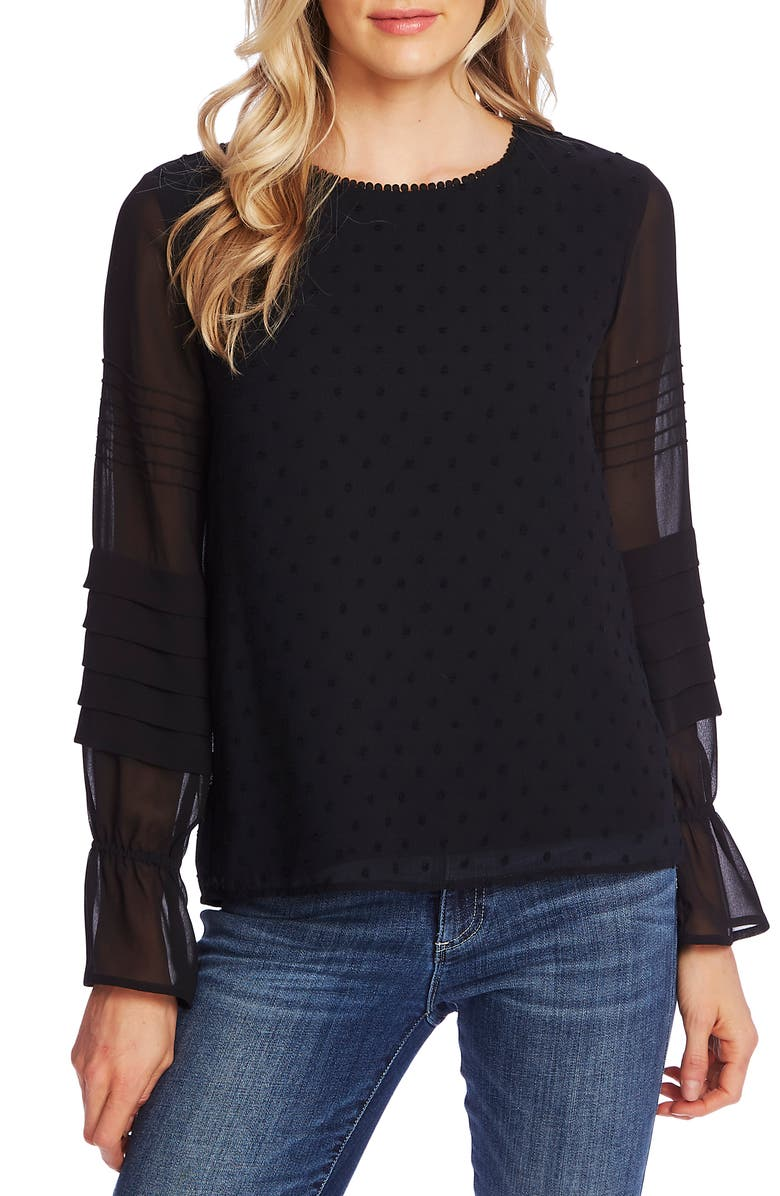 CECE Mixed Media Clip Dot Blouse, Main, color, RICH BLACK