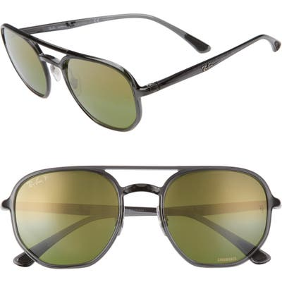 Ray-Ban 5m Chromance Polarized Aviator Sunglasses - Grey/ Green Gold Grad Polar