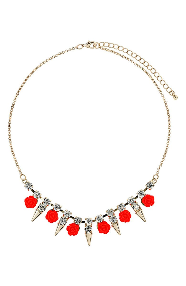 TOPSHOP 'Rose & Spike' Collar Necklace, Main, color, 710