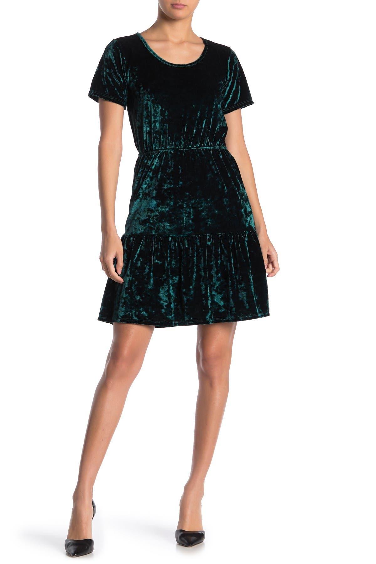 Image of Velvet Torch Velvet Tiered Skirt Dress