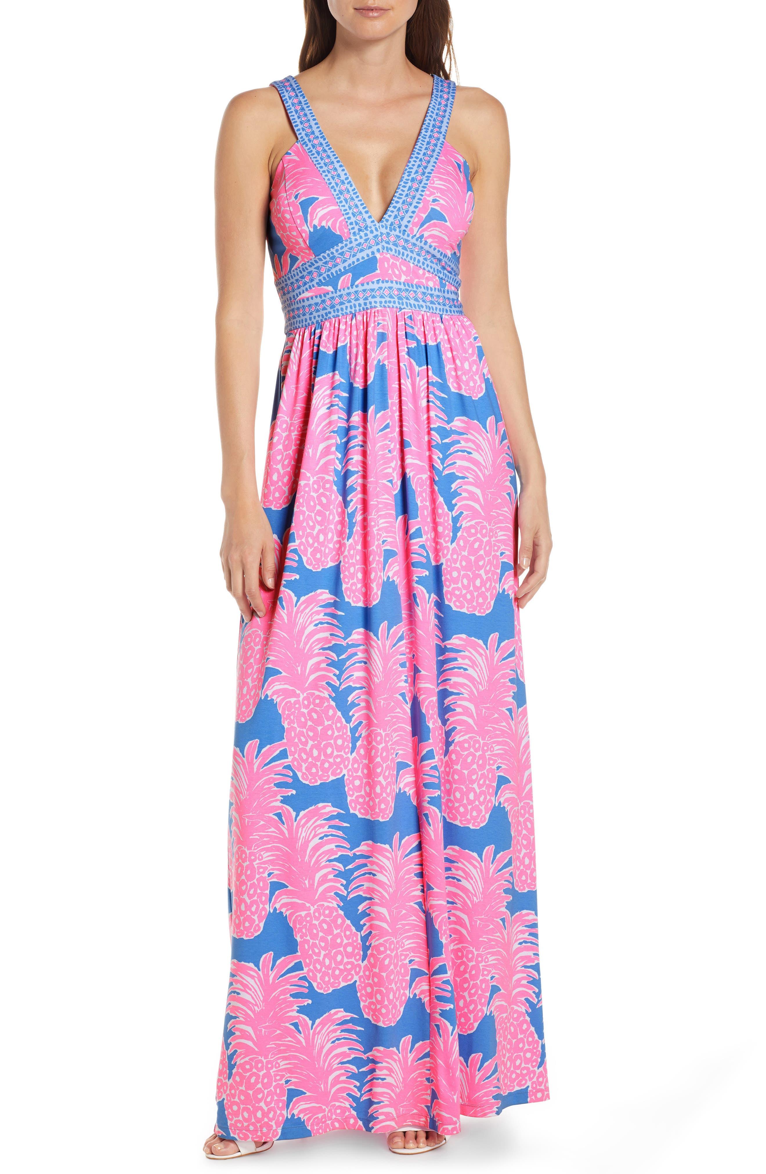 Retro Tiki Dress – Tropical, Hawaiian Dresses Womens Lilly Pulitzer Taryn Print Maxi Dress $198.00 AT vintagedancer.com