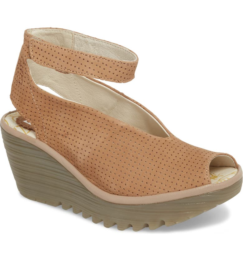 FLY LONDON 'Yala' Perforated Leather Sandal, Main, color, BEIGE CUPIDO/ MOUSSE LEATHER