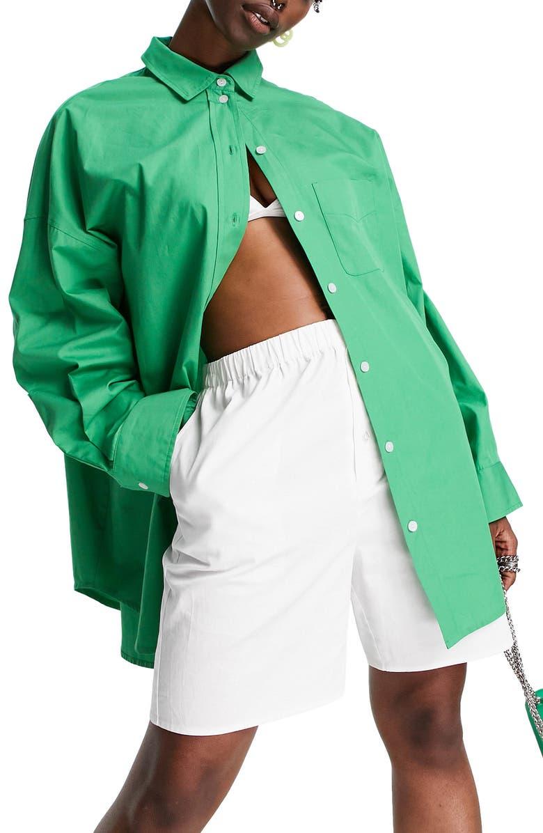 TOPSHOP Oversize Cotton Poplin Button-Up Shirt, Main, color, LIGHT GREEN