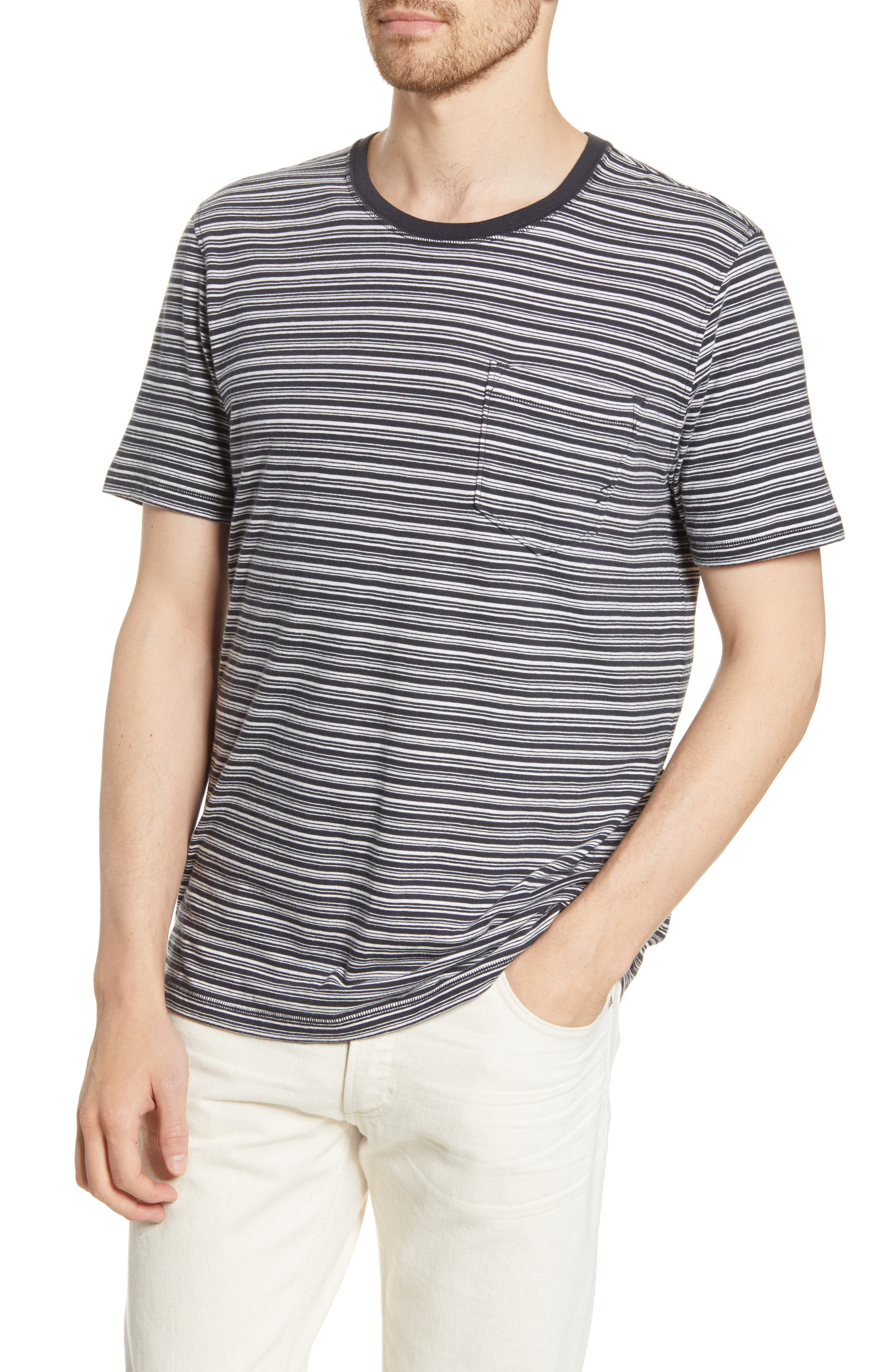 Image of Billy Reid Striped Pocket T-Shirt