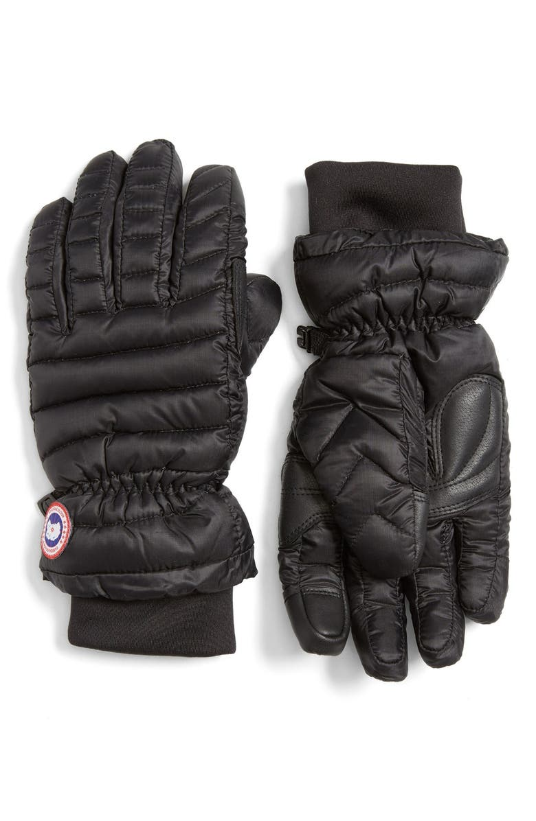 CANADA GOOSE Lightweight Quilted Down Gloves, Main, color, BLACK