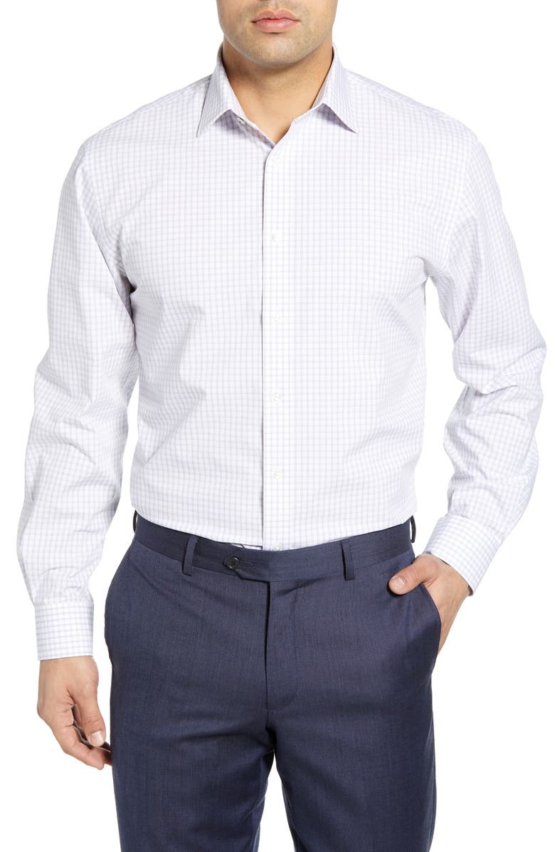 NORDSTROM MEN'S SHOP Tech-Smart Traditional Fit Check Stretch Dress Shirt, Main, color, WHITE