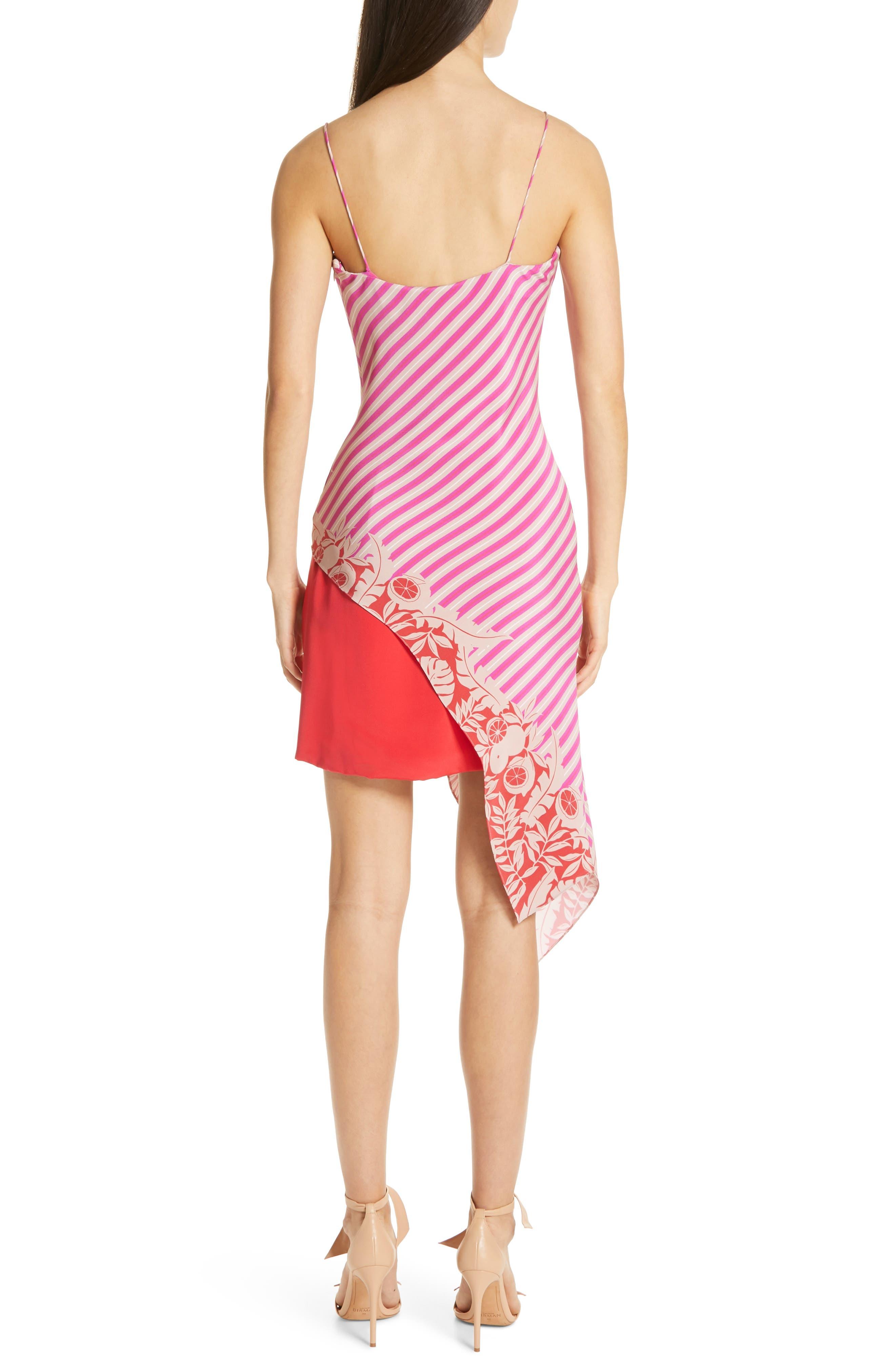 ,                             Asymmetrical Silk Minidress,                             Alternate thumbnail 2, color,                             TROPICAL STRIPE BORDER