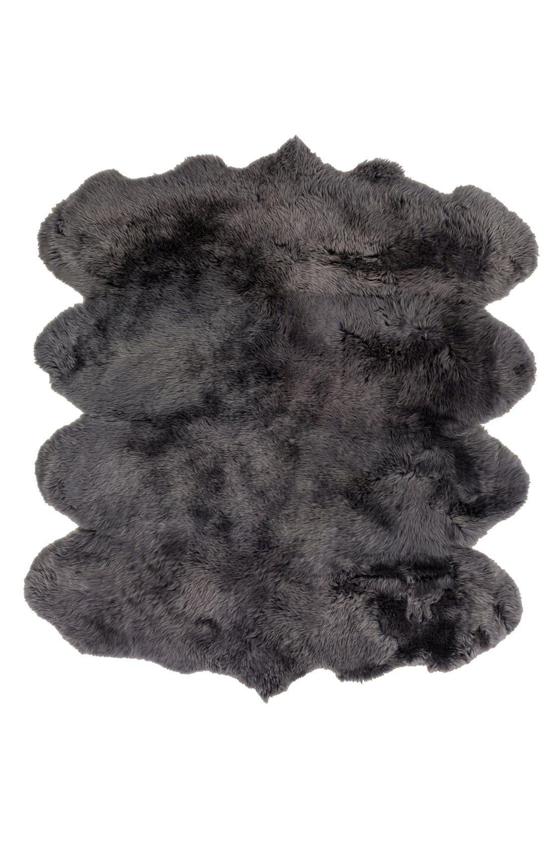 ,                             Genuine Shearling Rug,                             Alternate thumbnail 3, color,                             GREY