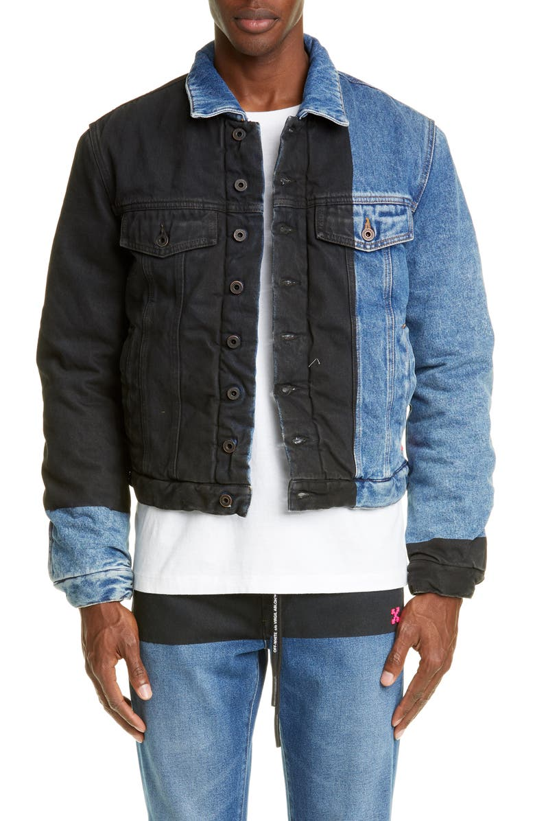 OFF-WHITE Padded Denim Jacket, Main, color, DARK BLUE FUCHSIA