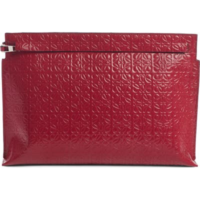 Loewe Repeat Logo Anagram Calfskin Leather T Pouch - Red