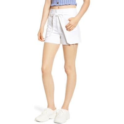 Tinsel Belted Denim Shorts, White