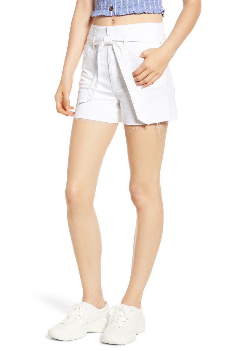 TINSEL Belted Denim Shorts, Main, color, WHITE