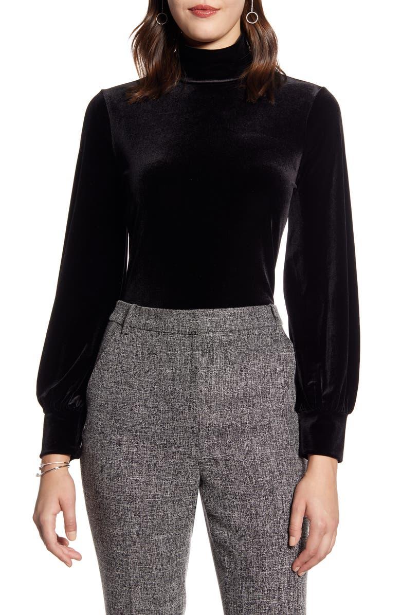 HALOGEN<SUP>®</SUP> Blouson Sleeve Velour Top, Main, color, BLACK