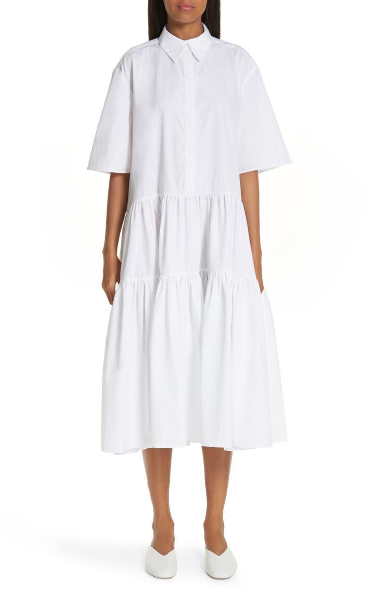 CECILIE BAHNSEN Primrose Shirtdress, Main, color, WHITE