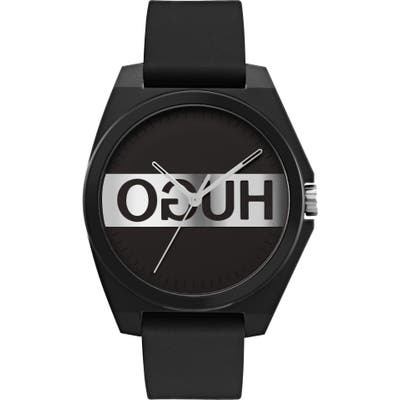 Hugo #play Reverse Logo Rubber Strap Watch, 35Mm