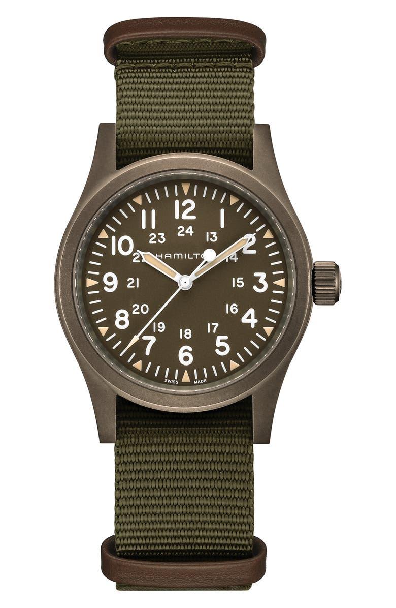 HAMILTON Khaki Field Mechanical NATO Strap Watch, 38mm, Main, color, GREEN