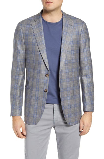Image of Peter Millar Wool Blend Regular Fit Plaid Blazer