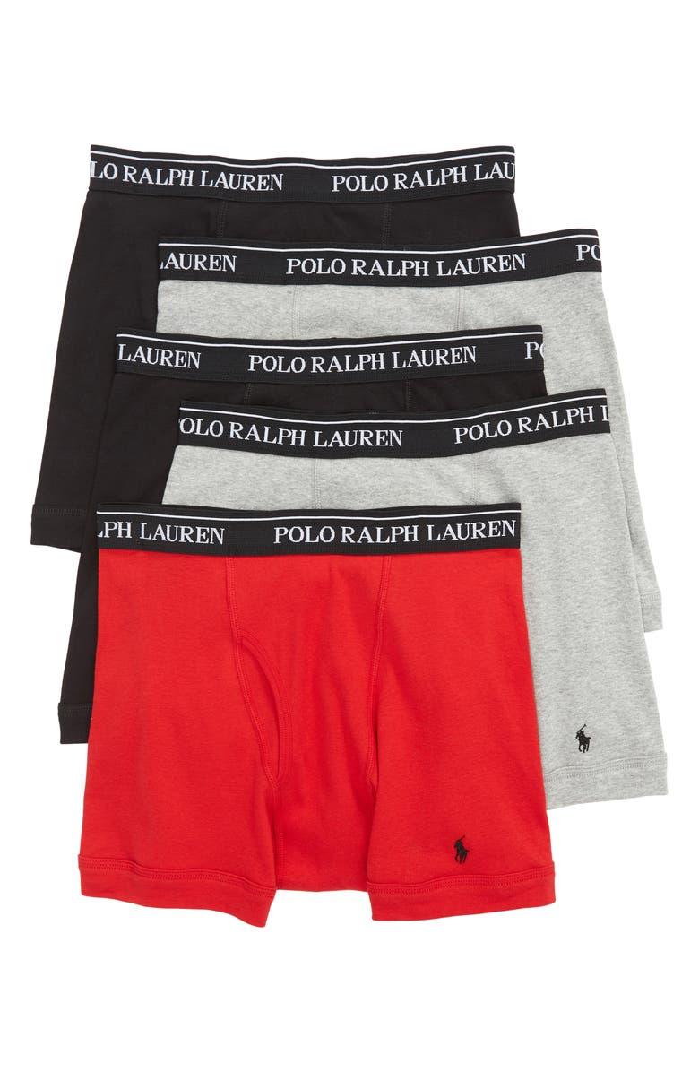 POLO RALPH LAUREN 5-Pack Cotton Boxer Briefs, Main, color, 001