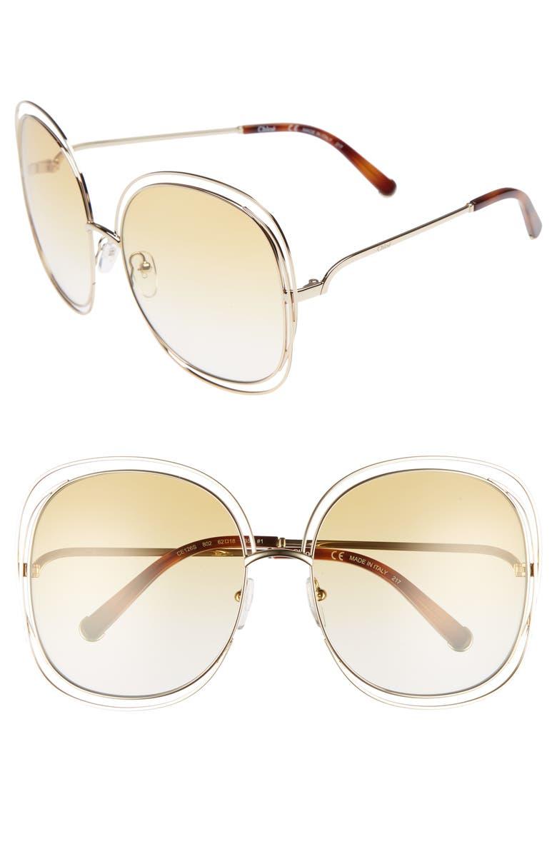 CHLOÉ Carlina 62mm Oversize Sunglasses, Main, color, 714