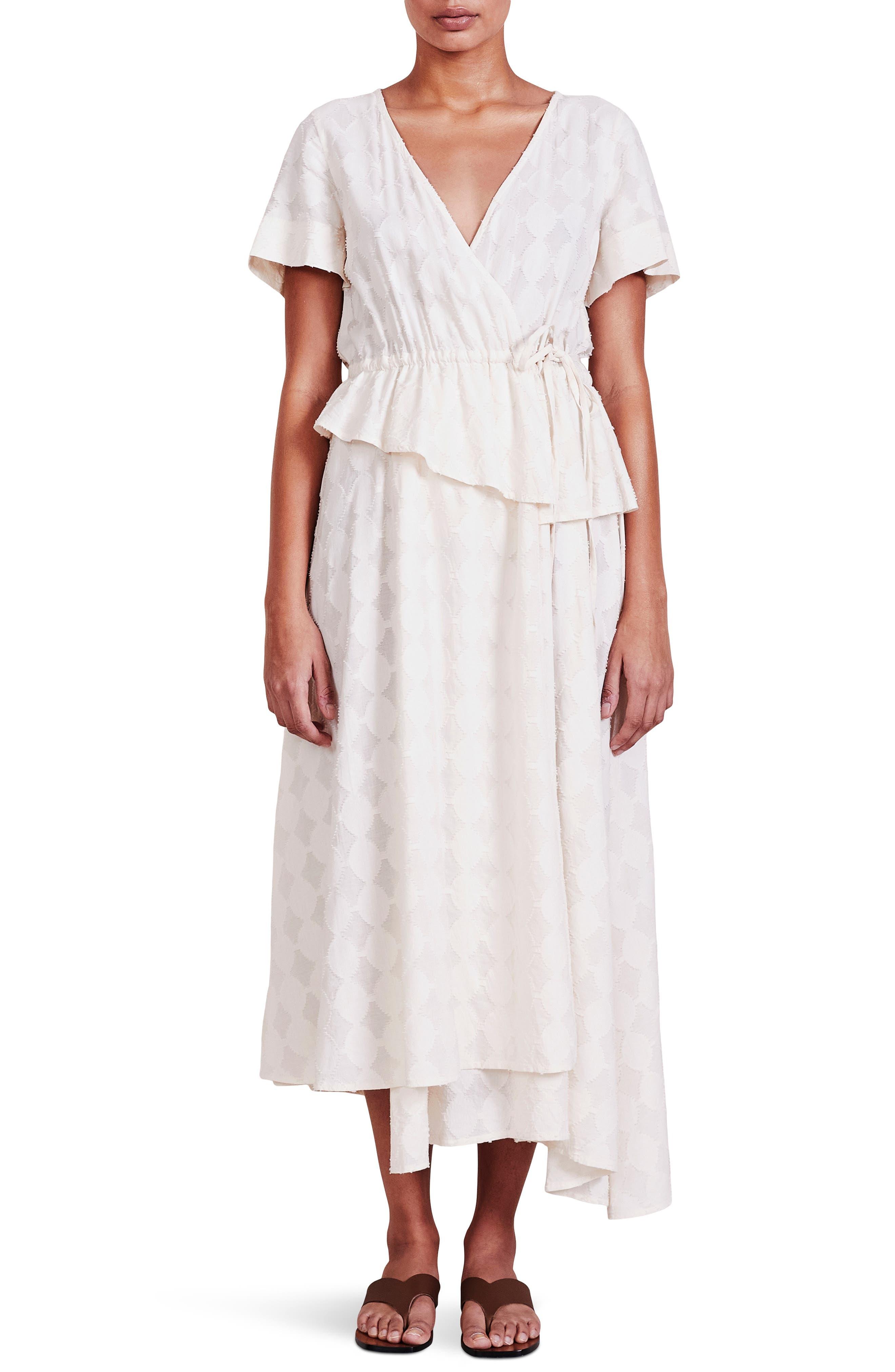 Cabo Asymmetric Peplum Wrap Dress