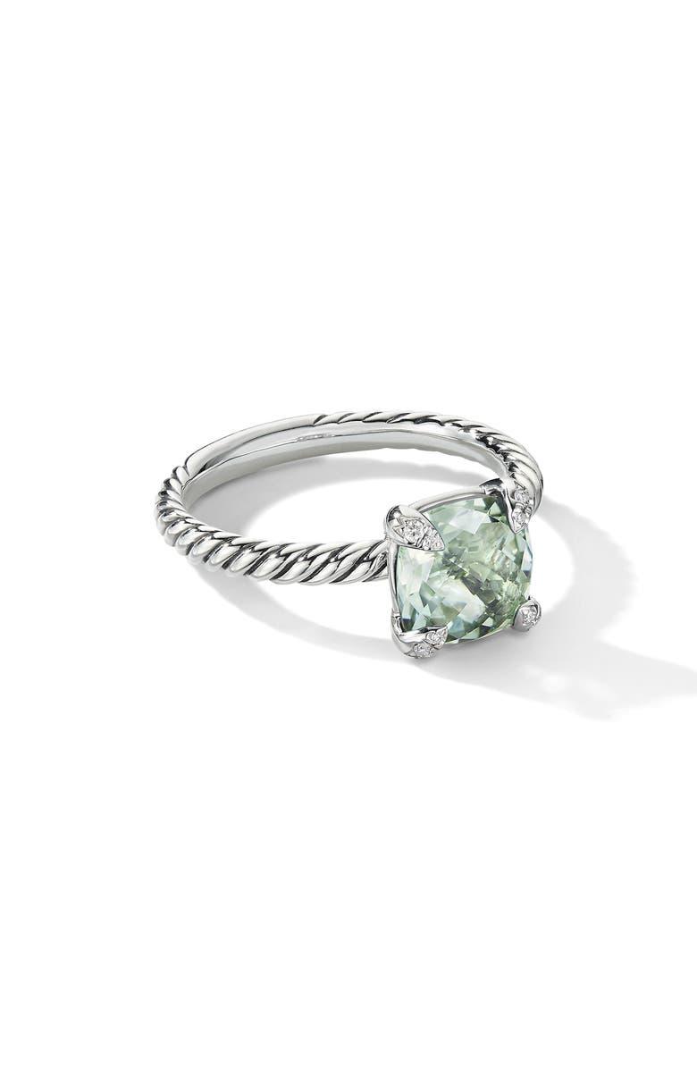 DAVID YURMAN Chatelaine<sup>®</sup> Ring with Semiprecious Stone and Diamonds, Main, color, PRASIOLITE