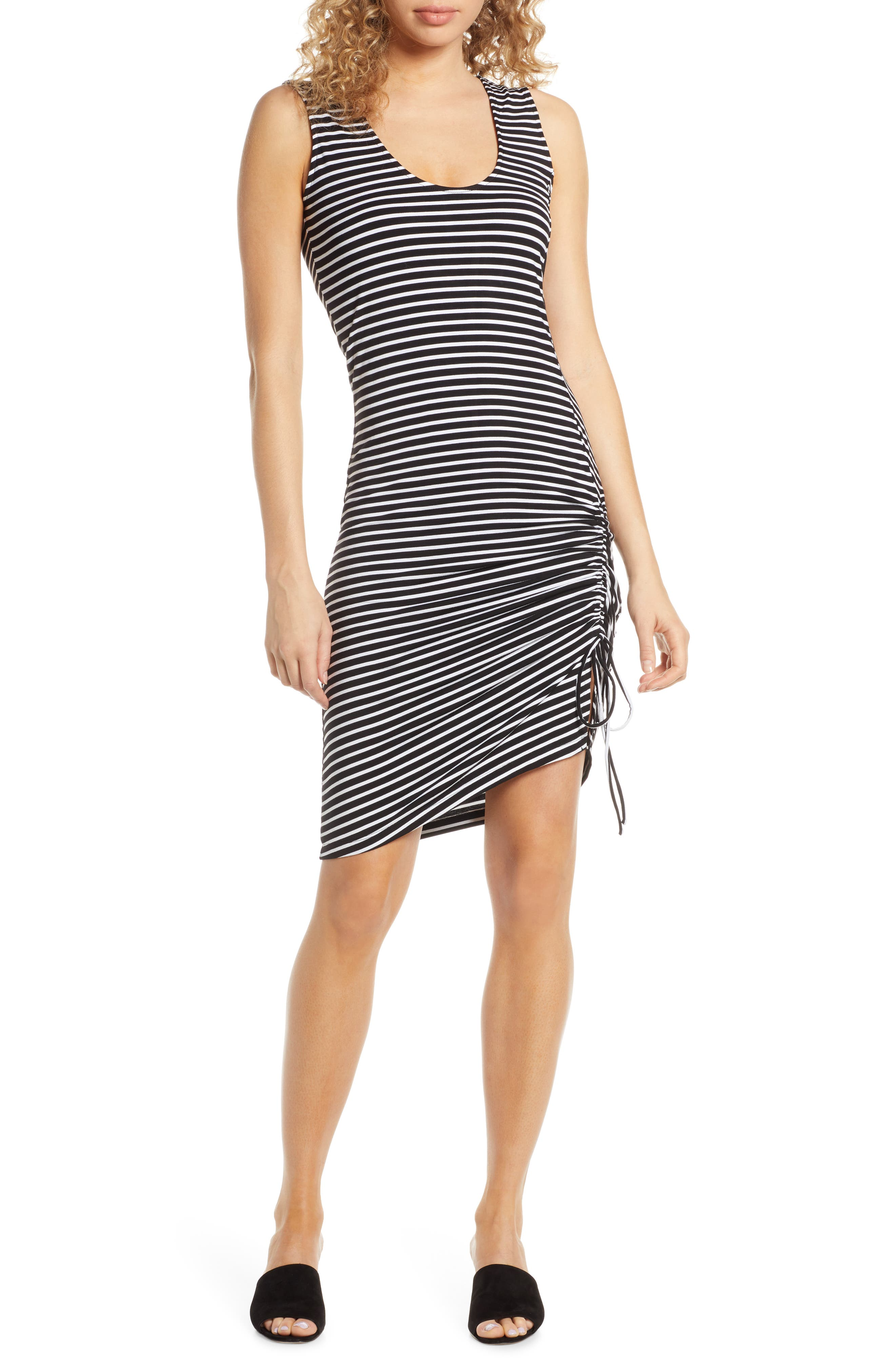 Bb Dakota Leaving Port Stripe Jersey Dress, Black