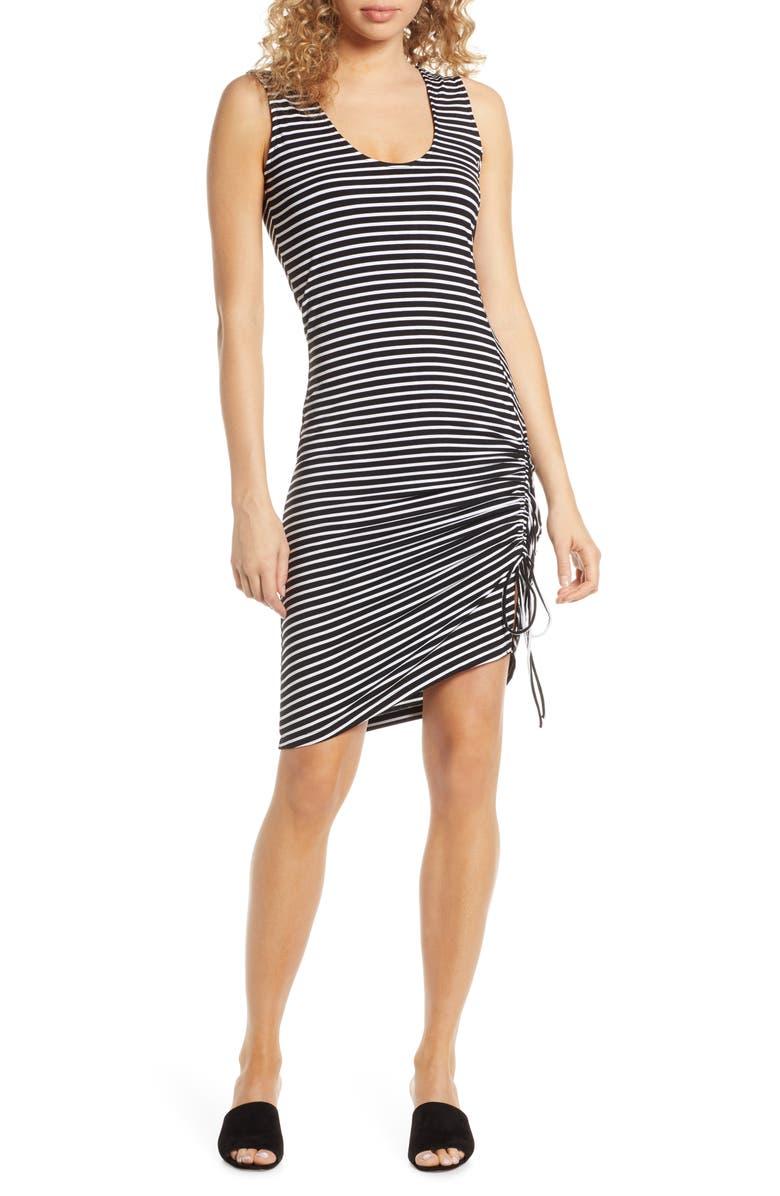 BB DAKOTA Leaving Port Stripe Jersey Dress, Main, color, BLACK