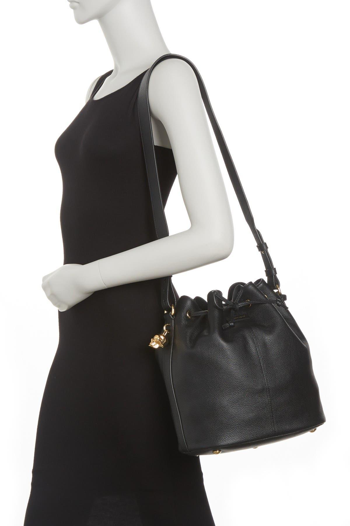 Image of Alexander McQueen Padlock Skull Leather Bucket Bag