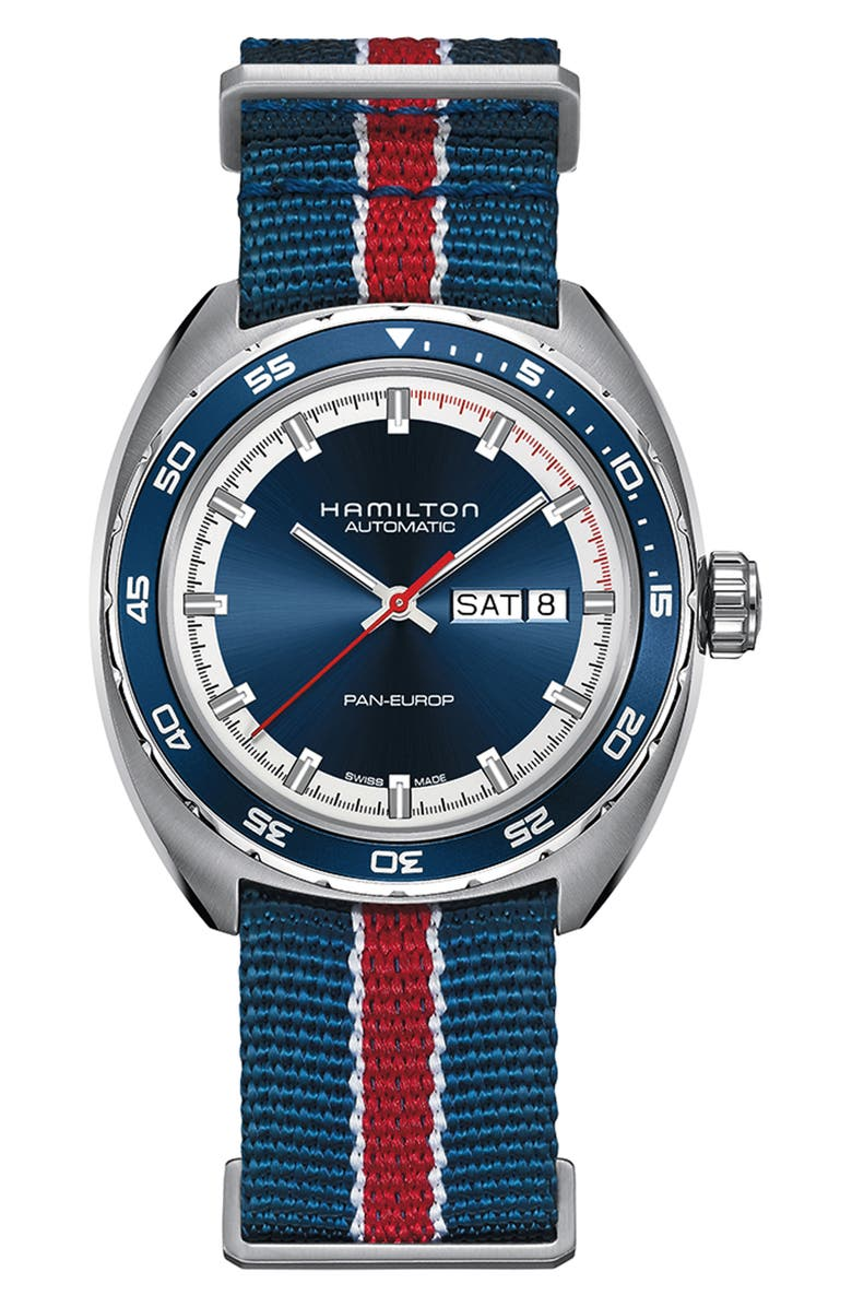 HAMILTON American Classic Pan Europ Automatic Leather Strap Watch; 42mm, Main, color, BLACK/ BLUE/ SILVER