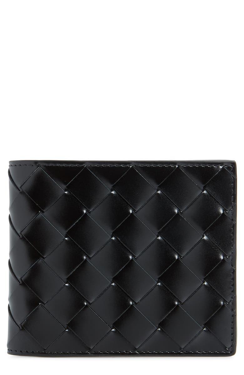 BOTTEGA VENETA Intrecciato Leather Wallet, Main, color, NERO/NERO-SILVER