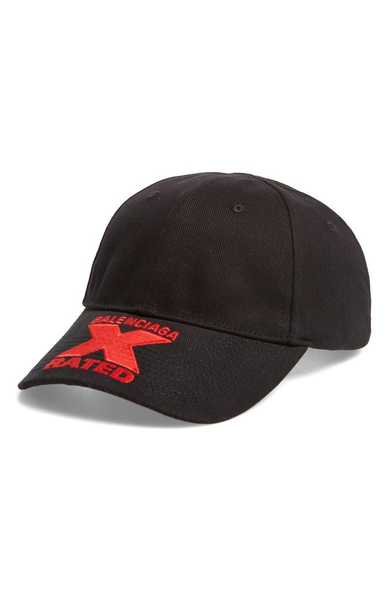 BALENCIAGA X-Rated Baseball Cap, Main, color, BLACK/ RED
