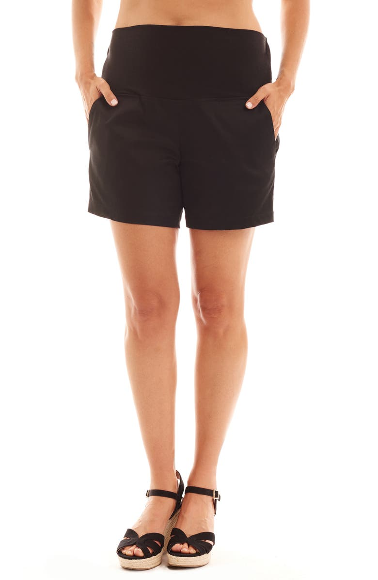 EVERLY GREY Kathleen Maternity Shorts, Main, color, BLACK
