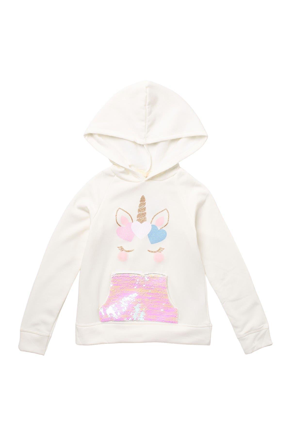 Image of Btween Sequined Unicorn Print Hoodie