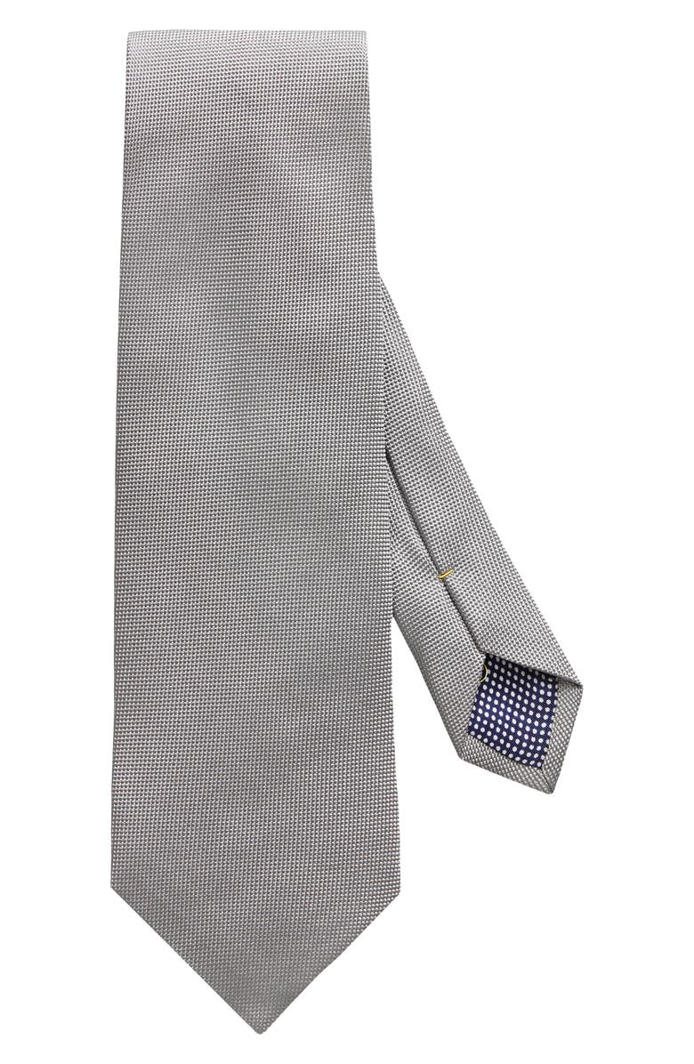 ETON Solid Silk Tie, Main, color, GREY