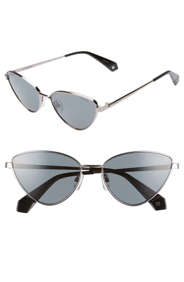 POLAROID 56mm Polarized Cat Eye Sunglasses, Main, color, 001