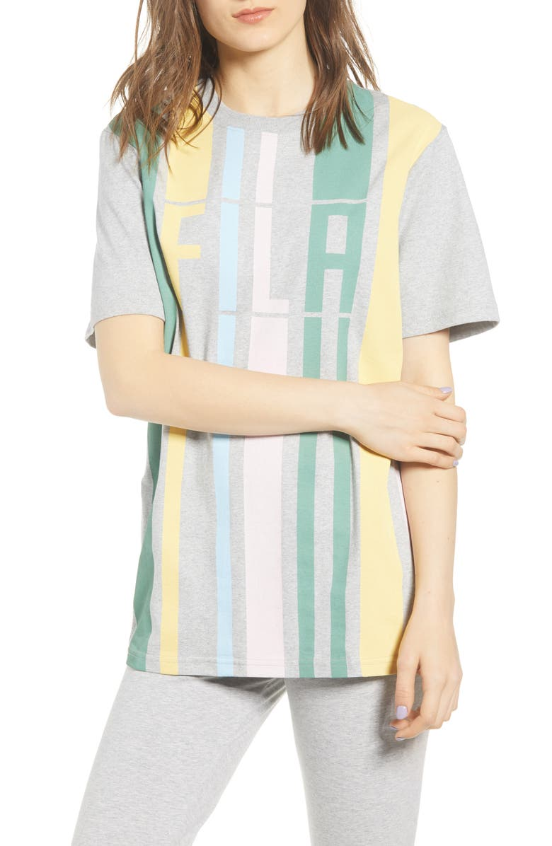 FILA Dulce Logo Stripe Tee, Main, color, LIGHT GREY MARL/ PALE BANANA