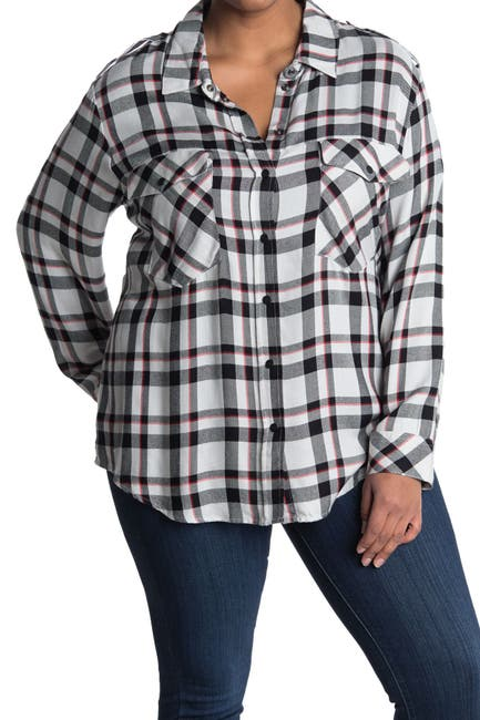 Image of Sanctuary Plaid Long Sleeve Boyfriend Shirt