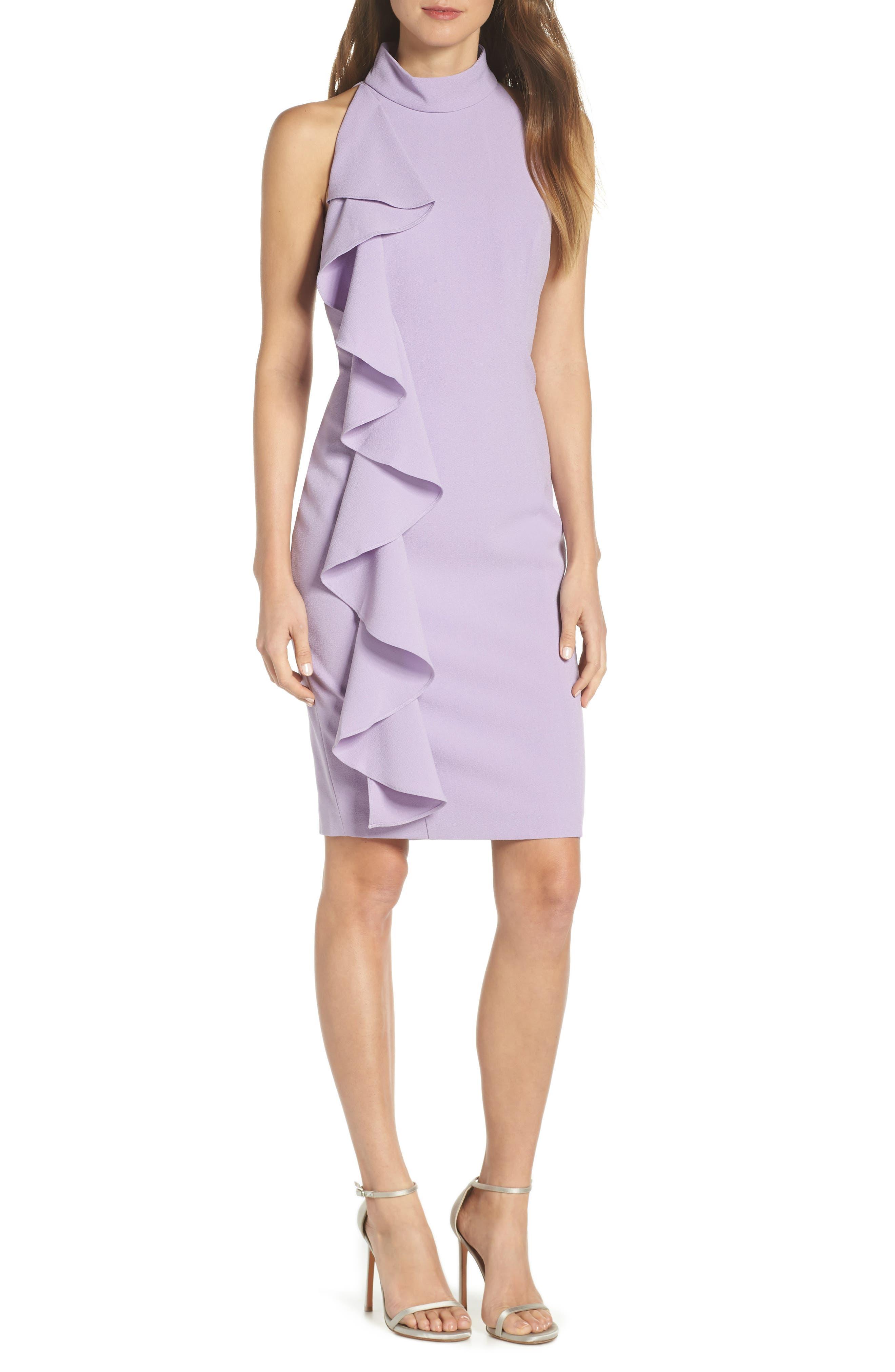 Eliza J Ruffle Sheath Dress, Purple
