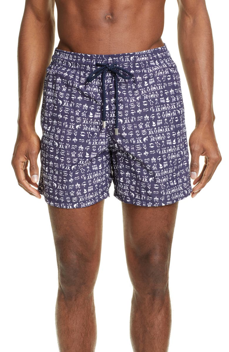 VILEBREQUIN Moorea Fortune Teller Turtles Swim Trunks, Main, color, BLEU NUIT