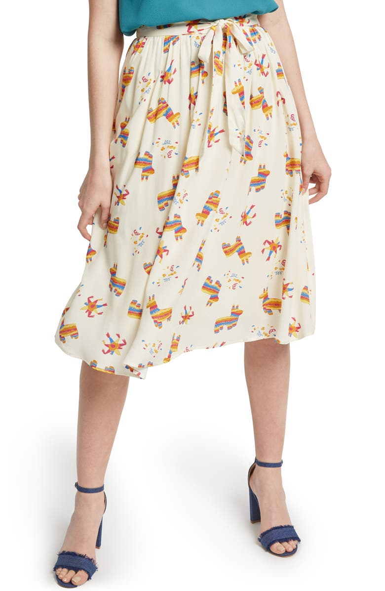 MODCLOTH Tie Front Print Full Skirt, Main, color, 900