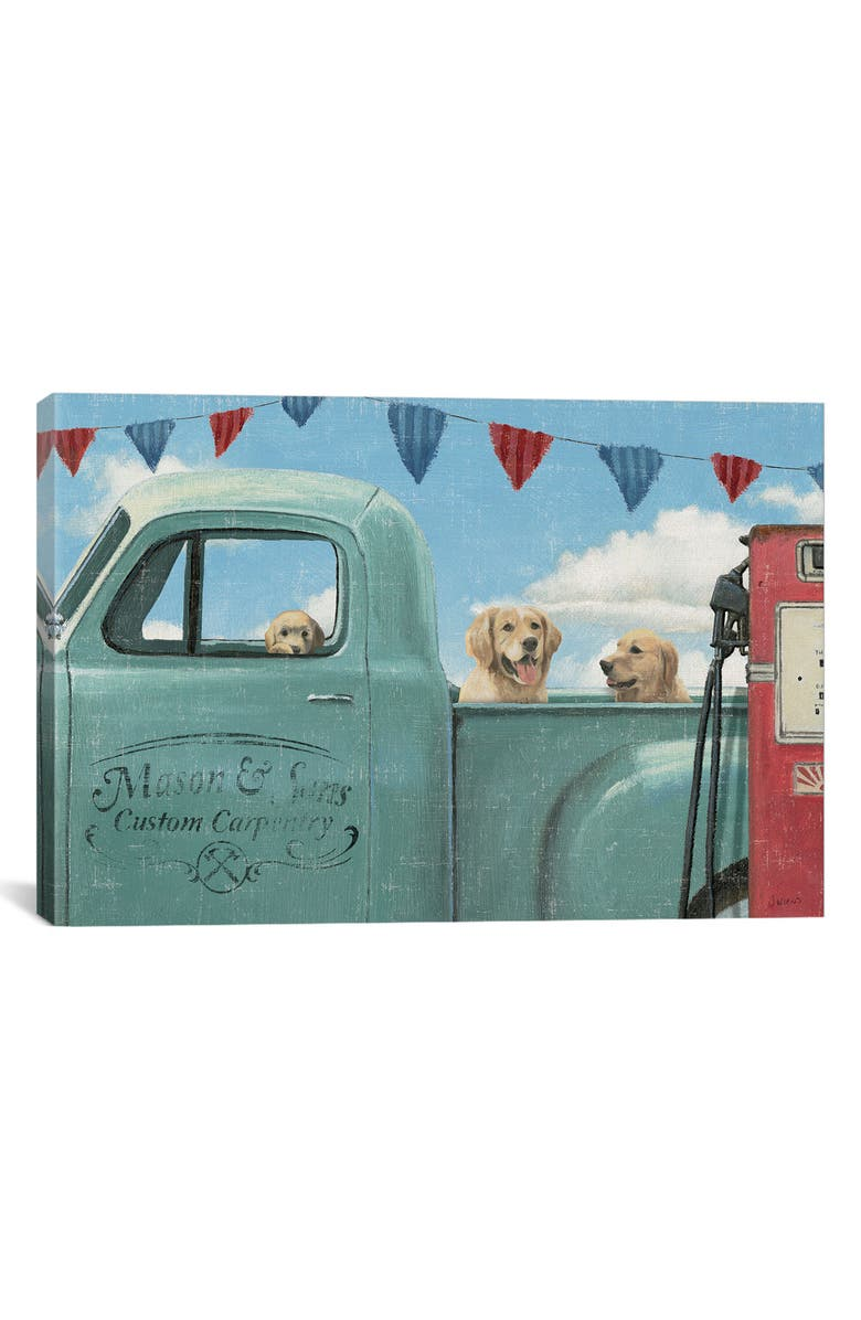 ICANVAS Let's Go for a Ride II Giclée Print Canvas Art, Main, color, BLUE/ GREEN/ RED/ WHITE
