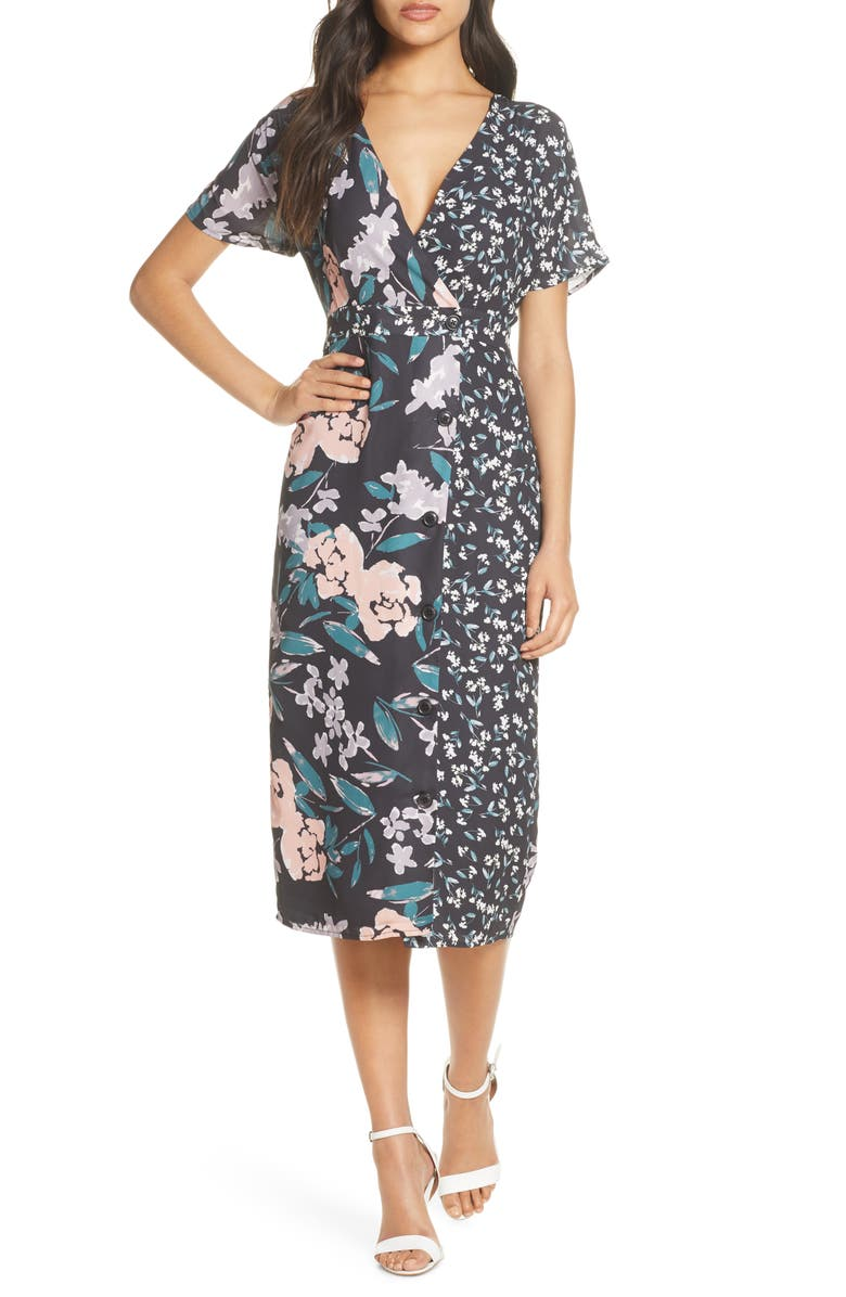 FOREST LILY Mixed Floral Print Button Front Wrap Dress, Main, color, BLACK COMBO